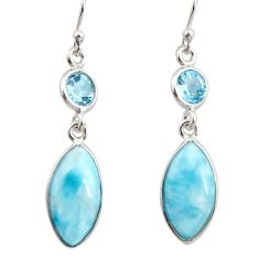 925 sterling silver 10.89cts natural blue larimar topaz dangle earrings r14732
