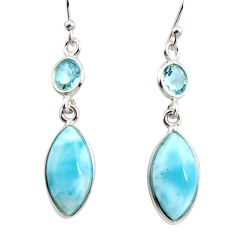 11.28cts natural blue larimar topaz 925 sterling silver dangle earrings r14733