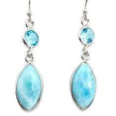 11.26cts natural blue larimar topaz 925 sterling silver dangle earrings r14734