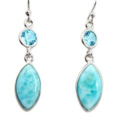 925 sterling silver 11.28cts natural blue larimar topaz dangle earrings r14735