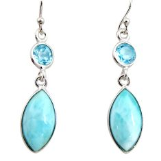 11.93cts natural blue larimar topaz 925 sterling silver dangle earrings r14736