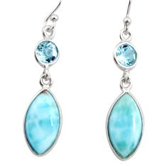 925 sterling silver 10.84cts natural blue larimar topaz dangle earrings r14738