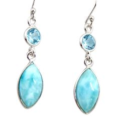 10.89cts natural blue larimar topaz 925 sterling silver dangle earrings r14739
