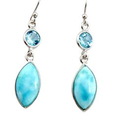 925 sterling silver 10.75cts natural blue larimar topaz dangle earrings r14740