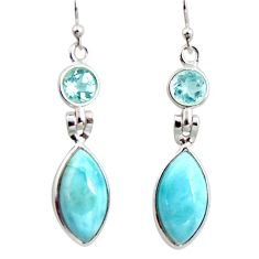 12.54cts natural blue larimar topaz 925 sterling silver dangle earrings r14741