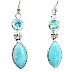 12.52cts natural blue larimar topaz 925 sterling silver dangle earrings r14742
