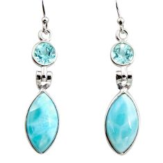 12.54cts natural blue larimar topaz 925 sterling silver dangle earrings r14743