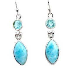 925 sterling silver 11.93cts natural blue larimar topaz dangle earrings r14744