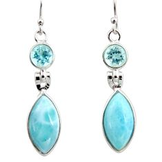 13.13cts natural blue larimar topaz 925 sterling silver dangle earrings r14746