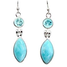 12.54cts natural blue larimar topaz 925 sterling silver dangle earrings r14747