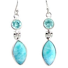 12.52cts natural blue larimar topaz 925 sterling silver dangle earrings r14749