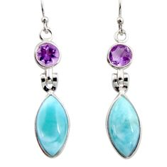 925 silver 11.93cts natural blue larimar purple amethyst dangle earrings r14750
