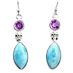 925 silver 12.54cts natural blue larimar purple amethyst dangle earrings r14752