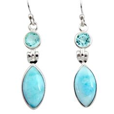 11.28cts natural blue larimar topaz 925 sterling silver dangle earrings r14753
