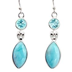 12.54cts natural blue larimar topaz 925 sterling silver dangle earrings r14754