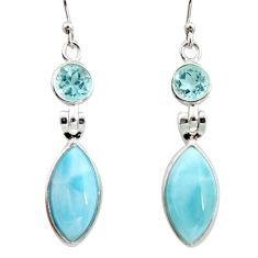 925 sterling silver 13.13cts natural blue larimar topaz dangle earrings r14755