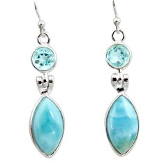12.54cts natural blue larimar topaz 925 sterling silver dangle earrings r14757