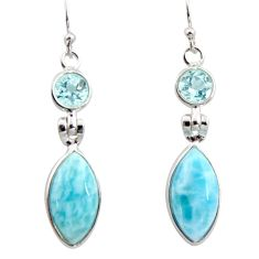 925 sterling silver 11.93cts natural blue larimar topaz dangle earrings r14758