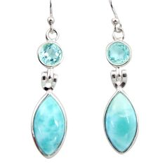 12.52cts natural blue larimar topaz 925 sterling silver dangle earrings r14759