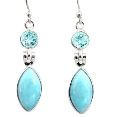 13.13cts natural blue larimar topaz 925 sterling silver dangle earrings r14760