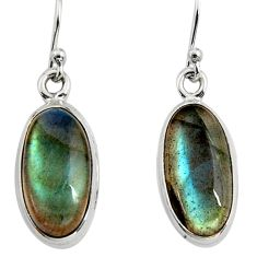 9.61cts natural blue labradorite 925 sterling silver dangle earrings r14761