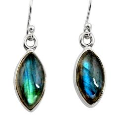 7.97cts natural blue labradorite 925 sterling silver dangle earrings r14768