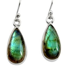 10.31cts natural blue labradorite 925 sterling silver dangle earrings r14771