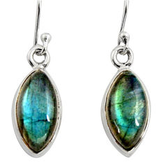7.97cts natural blue labradorite 925 sterling silver dangle earrings r14772