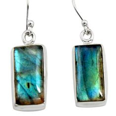 11.21cts natural blue labradorite 925 sterling silver dangle earrings r14774