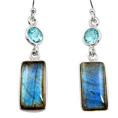 925 silver 13.13cts natural blue labradorite topaz dangle earrings r14784