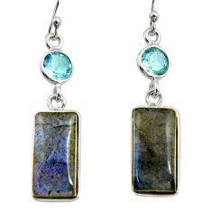 14.08cts natural blue labradorite topaz 925 silver dangle earrings r14786