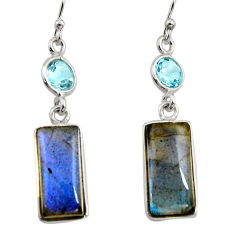 925 silver 13.13cts natural blue labradorite topaz dangle earrings r14795