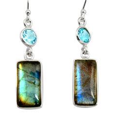 13.69cts natural blue labradorite topaz 925 silver dangle earrings r14797