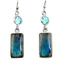 14.67cts natural blue labradorite topaz 925 silver dangle earrings r14799