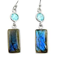 14.81cts natural blue labradorite topaz 925 silver dangle earrings r14800