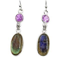 14.59cts natural blue labradorite amethyst 925 silver dangle earrings r14803