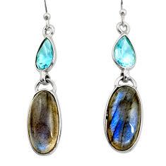925 silver 12.96cts natural blue labradorite topaz dangle earrings r14807
