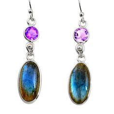 12.35cts natural blue labradorite amethyst 925 silver dangle earrings r14820