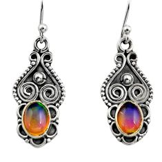 3.03cts natural multi color ethiopian opal 925 silver dangle earrings r14821