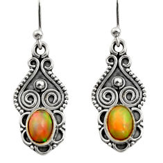 3.21cts natural multi color ethiopian opal 925 silver dangle earrings r14822