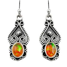 3.42cts natural multi color ethiopian opal 925 silver dangle earrings r14823