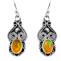925 silver 3.01cts natural multi color ethiopian opal dangle earrings r14824