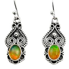 3.21cts natural multi color ethiopian opal 925 silver dangle earrings r14825