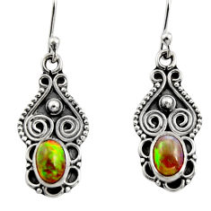 3.42cts natural multi color ethiopian opal 925 silver dangle earrings r14826