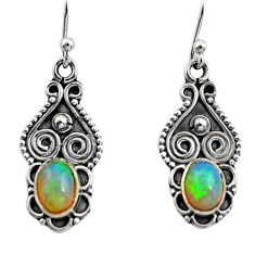 925 silver 3.17cts natural multi color ethiopian opal dangle earrings r14828