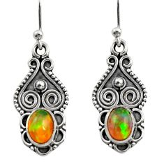 3.17cts natural multi color ethiopian opal 925 silver dangle earrings r14829