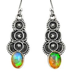 3.03cts natural multi color ethiopian opal 925 silver dangle earrings r14830