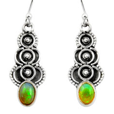 3.03cts natural multi color ethiopian opal 925 silver dangle earrings r14832