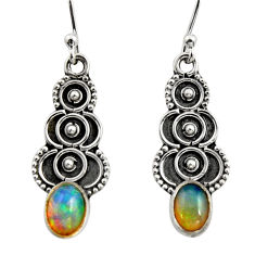 3.03cts natural multi color ethiopian opal 925 silver dangle earrings r14834