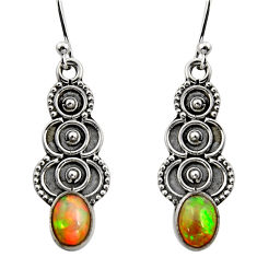 3.18cts natural multi color ethiopian opal 925 silver dangle earrings r14835